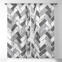 Shuffled Marble Herringbone - Black/White/Gray/Silver Sheer Curtain