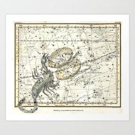 Scorpio Constellation Celestial Atlas Plate 19, Alexander Jamieson Art Print
