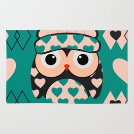 Owl and heart pattern Rug