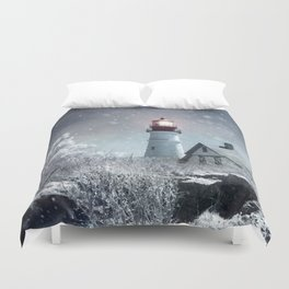 New England Winter Lighthouse Duvet Cover