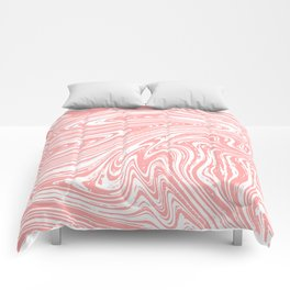 Coral Pink & White Marble Texture - Mix & Match With Simplicity of Life Comforters