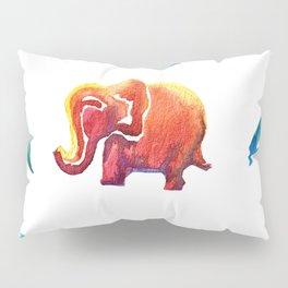 Exuberant Orange Elephant with Jaded Jungle Leaves Pillow Sham