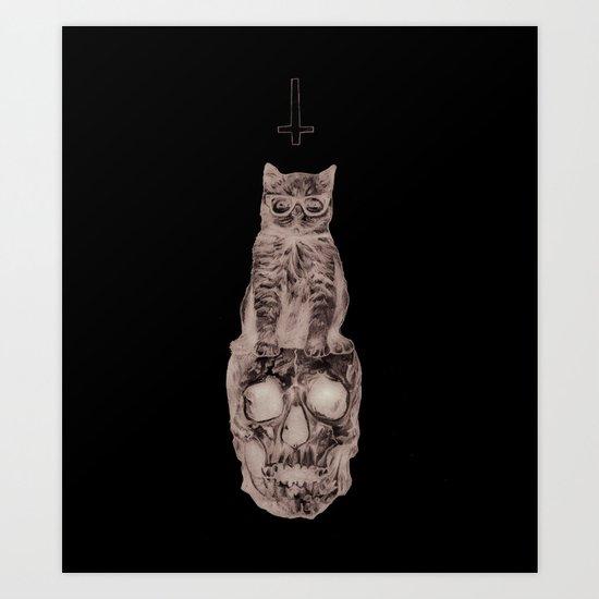 The Cat, The Skull, The Cross Art Print