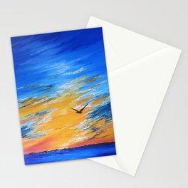 ocean sunset, original oil painting landscape, blue wall art, beach decor Stationery Cards