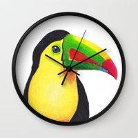 toucan Wall Clocks featuring Toucan by Jen Eva