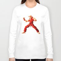 street fighter Long Sleeve T-shirts featuring Street Fighter II - Ken by Carlo Spaziani
