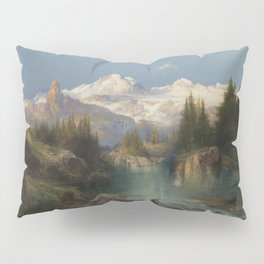Snow-capped Rocky Mountains landscape painting by Thomas Moran Pillow Sham