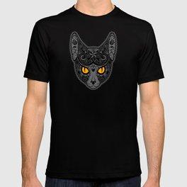 Gray Day of the Dead Sugar Skull Cat T-shirt