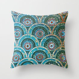 Aqua Teal Blue and Green Sparkling Faux Glitter Circles and Dots Throw Pillow