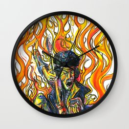 Rock and Flames Wall Clock