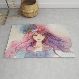 Watercolor Flower Girl Lilac Pink Purple Hair Rug