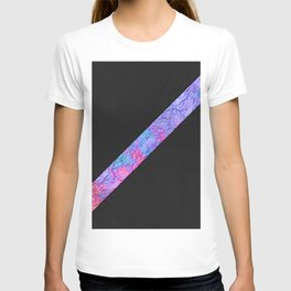 Abstract pink lavender teal watercolor paper leather stripe T-shirt