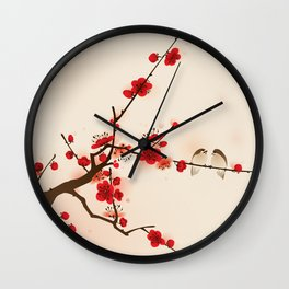 Oriental plum blossom in spring 007 Wall Clock