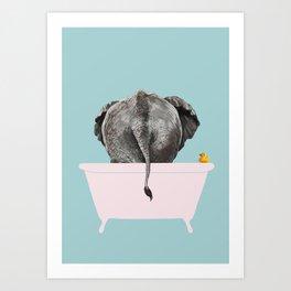 Baby Elephant in Bathtub Art Print