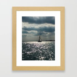 """Lake Erie Sailboat"" photography by Willowcatdesigns Framed Art Print"
