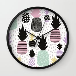 Summer pineapples in pastel color pop Wall Clock