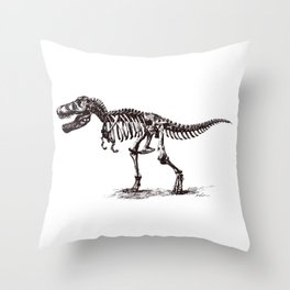 Dinosaur Skeleton in Ballpoint Throw Pillow