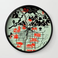 map Wall Clocks featuring Twin Peaks Map by Robert Farkas