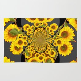 BLACK-GREY SUNFLOWERS ABSTRACT ART Rug
