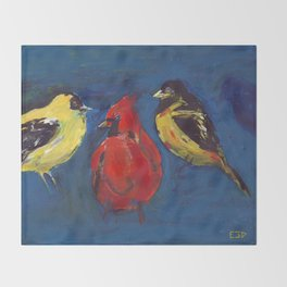 Shadow Bird (Cardinal, Goldfinches, and ?) Throw Blanket