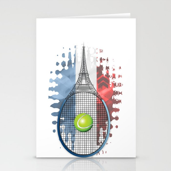 Racquet Eiffel Tower with French flag colors in background Stationery Cards