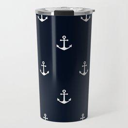 Dark Blue Anchor Pattern Travel Mug