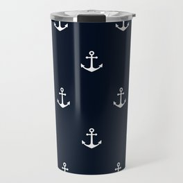 Dark Blue Anchor Pattern Travel Mug