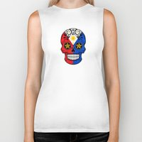 philippines Biker Tanks featuring Sugar Skull with Roses and Flag of Philippines by Jeff Bartels