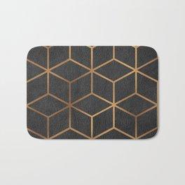 Charcoal and Gold - Geometric Textured Cube Design I Bath Mat
