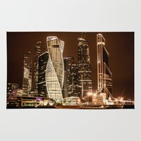 moscow Area & Throw Rugs featuring Moscow city by Vlad&Lyubov