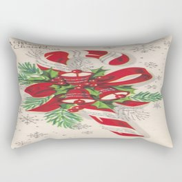 A Vintage Merry Christmas Candy Cane Rectangular Pillow