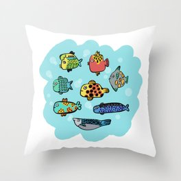 Fish Portrait in Sea Throw Pillow