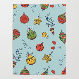 Christmas Toys Pattern Poster
