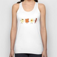 aqua Tank Tops featuring Let's All Go And Have Breakfast by Teo Zirinis
