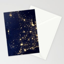 Satellite Image City Lights Of The United States America Year 2012 Ultra HD Stationery Cards