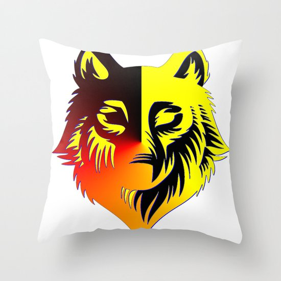 The Solar Wolf Throw Pillow