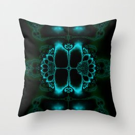 Dark Forest Lotus Fractal Art Print Throw Pillow