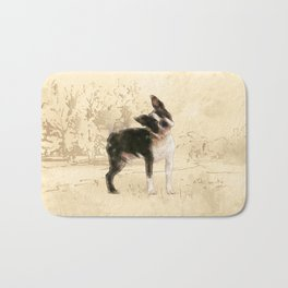Boston Terrier Watercolor Digital Art Bath Mat