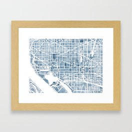 Washington DC Blueprint watercolor map Framed Art Print