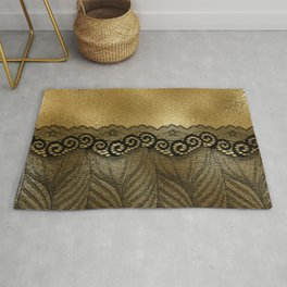 Black floral luxury lace on gold effect metal background Rug