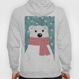 Christmas polar bear on blue. Hoody