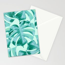 Tropical Monstera Leaves Dream #4 #tropical #decor #art #society6 Stationery Cards