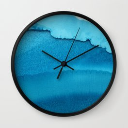 Ocean inspired alcohol ink art with all shades of turquoise blue Wall Clock