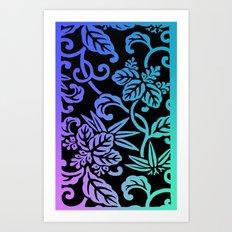 Japanese Floral Pattern : Pastel Ombre Art Print