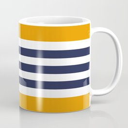 Stylish Classy Navy Blue Orange STRIPES Coffee Mug