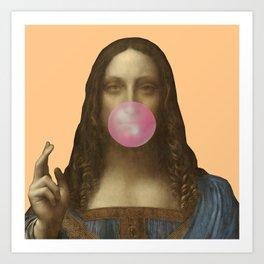 Salvator Mundi Chewing Bubblegum (Leonardo da Vinci)  Art Print