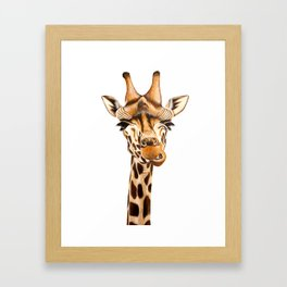 Geoffrey the Giraffe White Background Framed Art Print