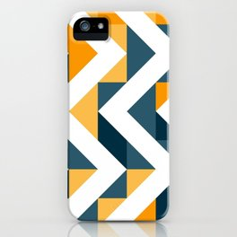 Chevron Oranges and Ink - Geometric Pattern iPhone Case