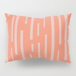 Interrupted Lines Mid-Century Modern Pattern in Coral Blush Pink Pillow Sham