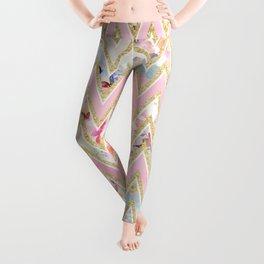 Pastel watercolor floral pink gold chevron pattern Leggings